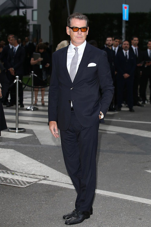 Pierce Brosnan aux 40 ans de la marque Armani, à Milan le 30 avril 2015
