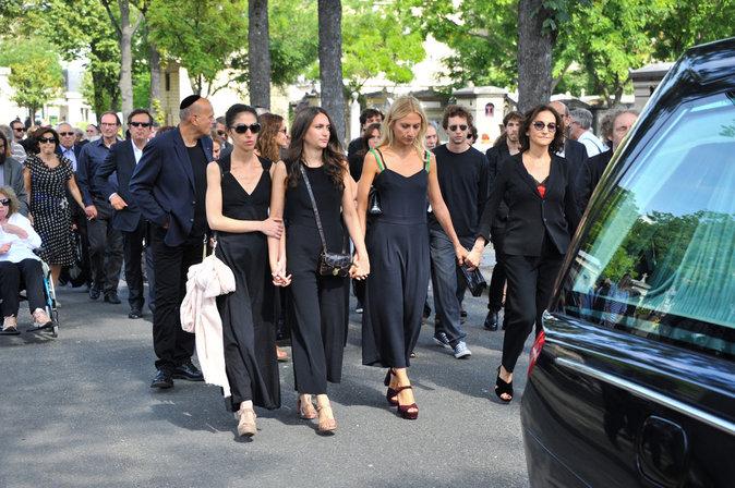 Nathalie Rykiel en famille aux obsèques de Sonia Rykiel, le 1er septembre 2016