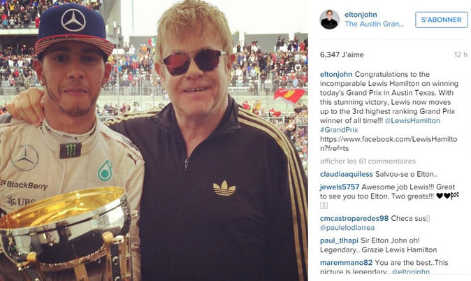 Lewis Hamilton félicité par Elton John