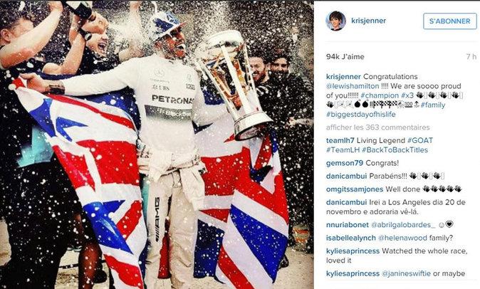 Lewis Hamilton félicité par Kris Jenner
