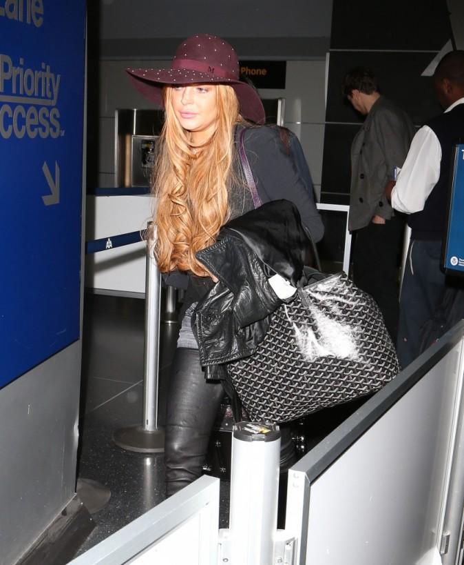 Lindsay Lohan à l'aéroport JFK à New York, le 10 avril 2013.
