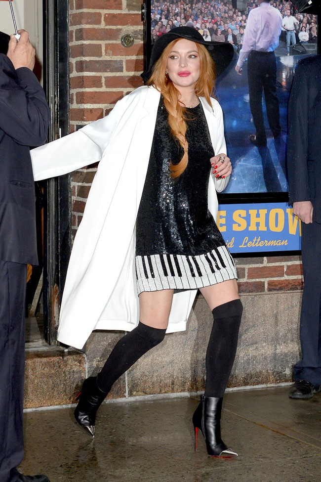 Lindsay Lohan après son passage dans les studios du David Letterman Show le 7 avril 2014