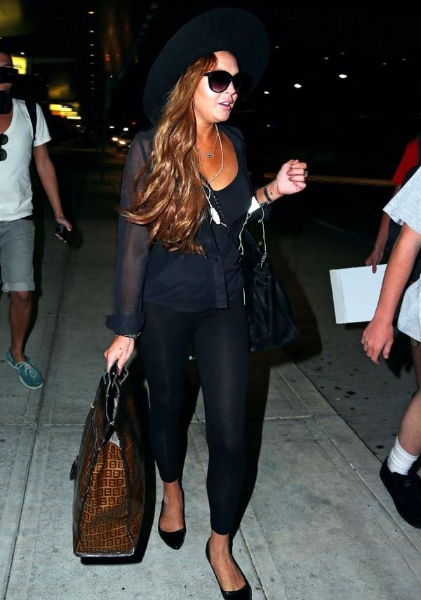 Lindsay Lohan à l'aéroport JFK de New-York le 21 août 2012