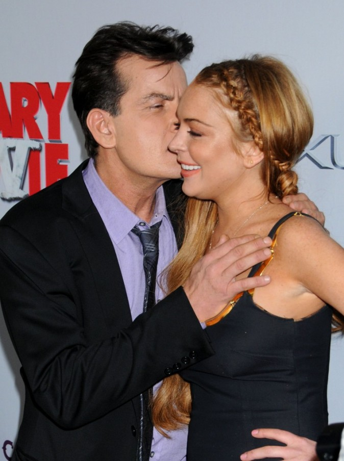 Lindsay Lohan et Charlie Sheen lors de la première de Scary Movie 5 à Hollywood, le 11 avril 2013.
