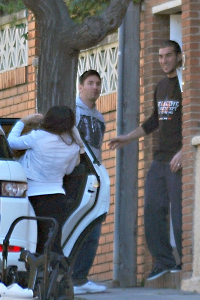 Lionel Messi en famille à Barcelone le 2 décembre 2012