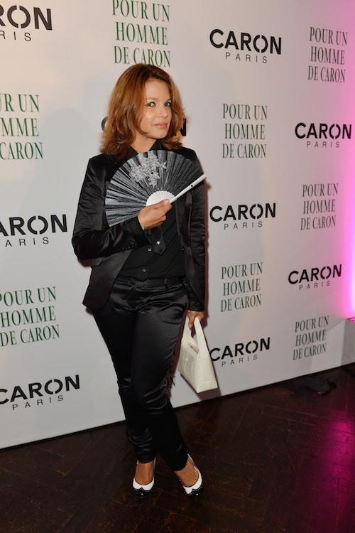 Sandrine Ferrer aux 80 ans de Caron, à Paris, le 9 octobre 2014