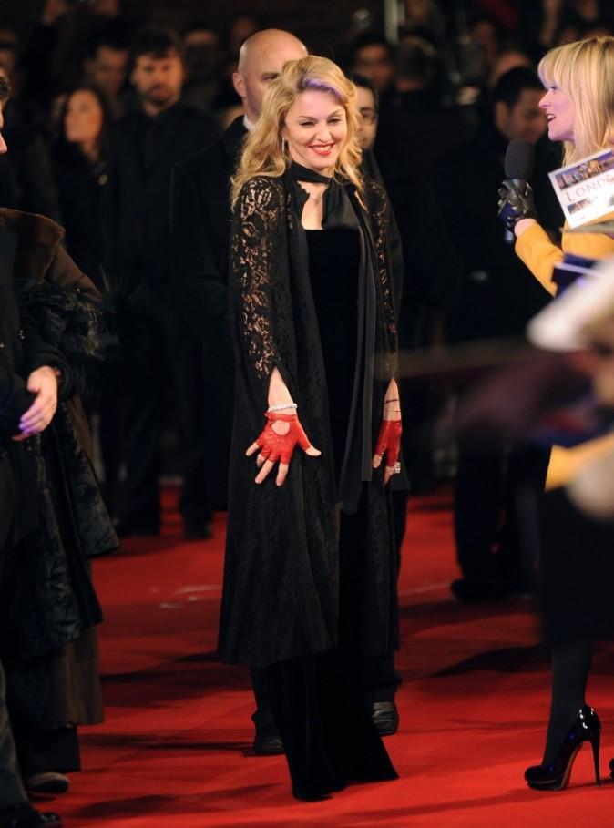 Madonna lors de l'avant-première de son film W.E. à Londres, le 11 janvier 2012.