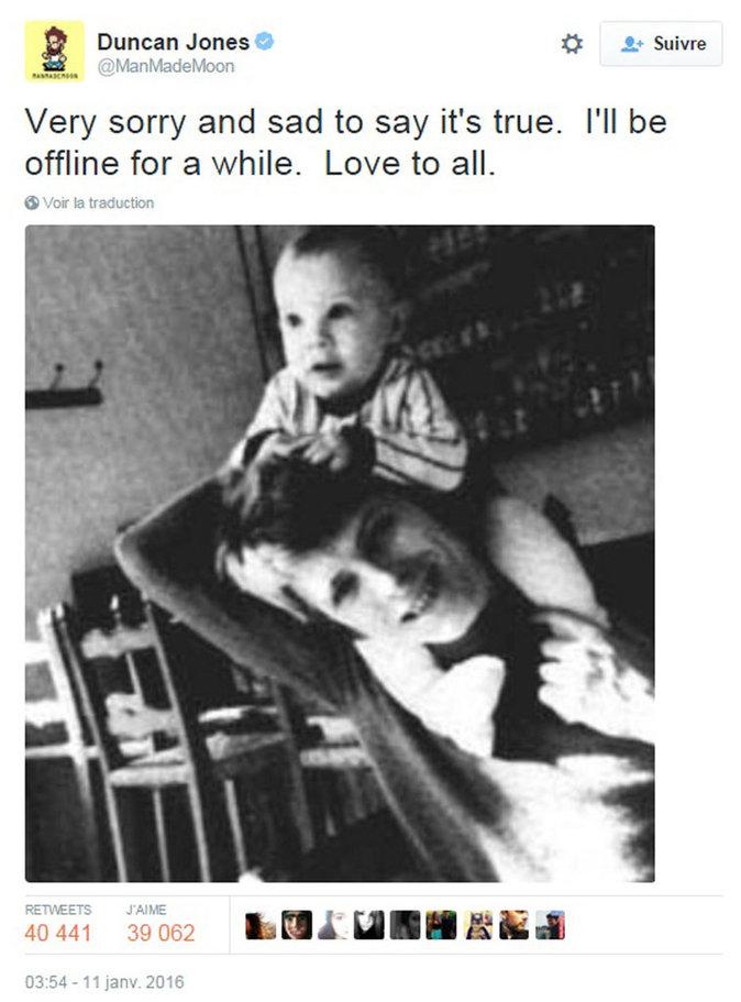 Son fils Duncan Jones (David Bowie s'appelait en réalité David Jones) a officialisé la nouvelle sur Twitter