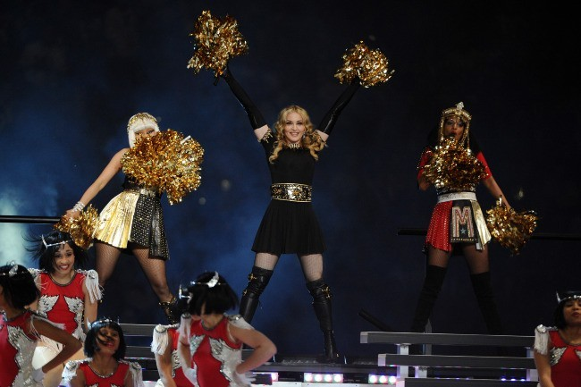 Madonna, Nicki Minaj et M.I.A lors de la finale du Super Bowl à Indianapolis, le 5 février 2012.