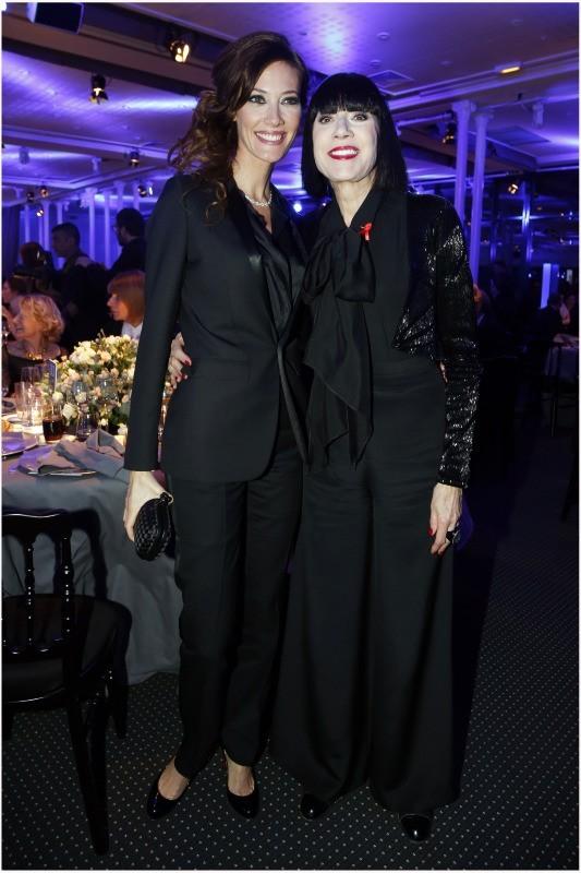 Mareva Galanter et Chantal Thomass lors du Dîner de la mode contre le Sida à Paris, le 24 janvier 2013.