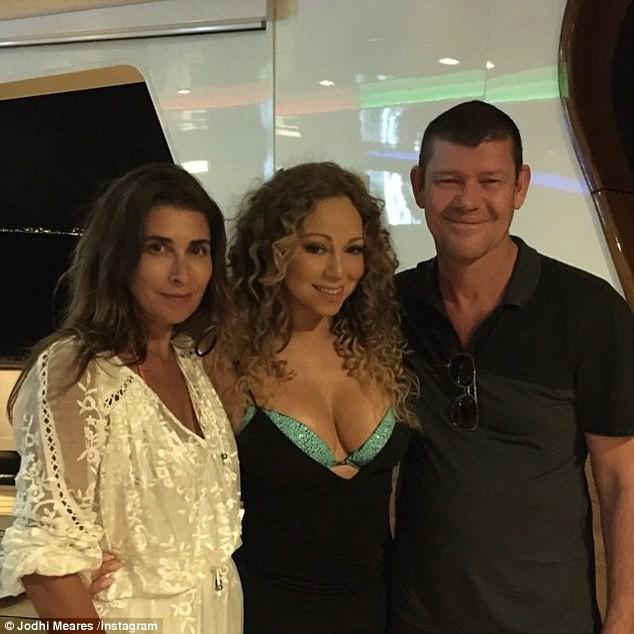 Mariah Carey, James Packer et Jodhi Meares le 21 juin 2015