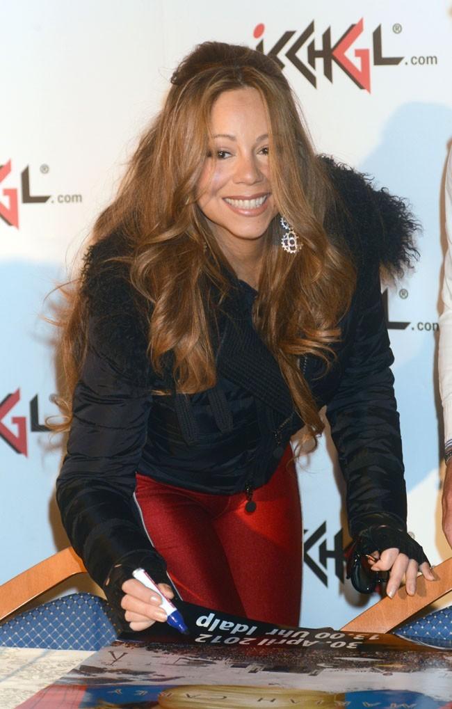 Mariah Carey en conférence de presse à Ischgl en Autriche le 30 avril 2012