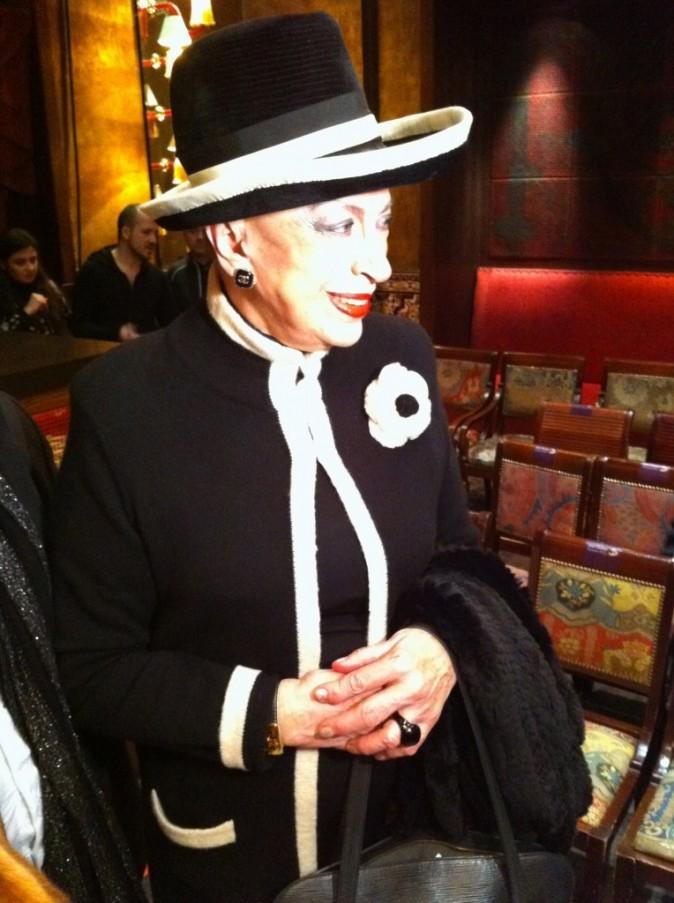 Geneviève de Fontenay lors du défilé Jean Doucet à Paris, le 26 janvier 2012.