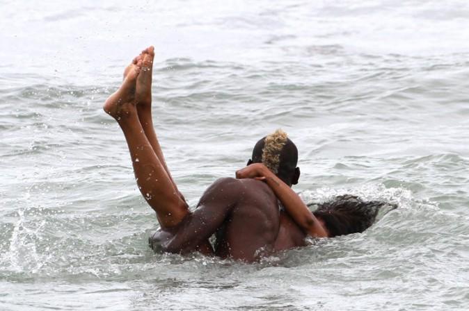 Mario Balotelli à Miami avec sa fiancée Fanny Neguesha le 6 juillet 2014