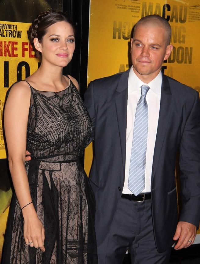 Marion Cotillard et Matt Damon lors de la première du film Contagion à New York, le 7 septembre 2011.