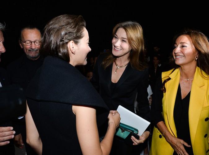 Marion Cotillard et Carla Bruni-Sarkozy à Paris le 26 septembre 2014