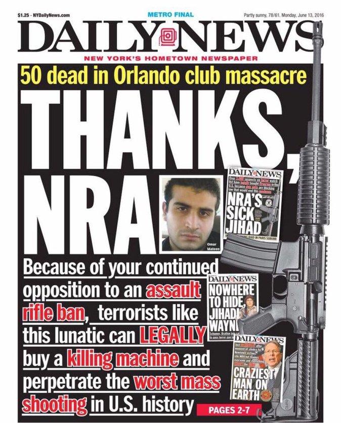 """Photos : Fusillade d'Orlando : """"Bataclan Américain"""", """"Massacre""""... les unes du monde entier"""