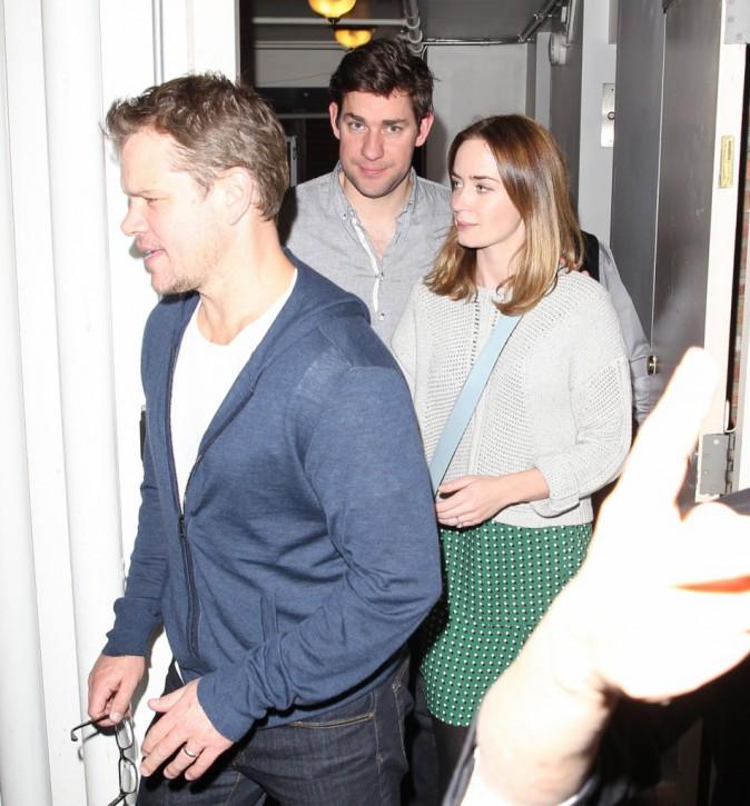 Matt Damon, Emily Blunt et John Krasinski à un dîner entre amis à Los Angeles, le 12 novembre 2014