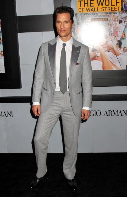 """Matthew McConaughey lors de la première du film """"Le Loup de Wall Street"""" à New York, le 17 décembre 2013."""