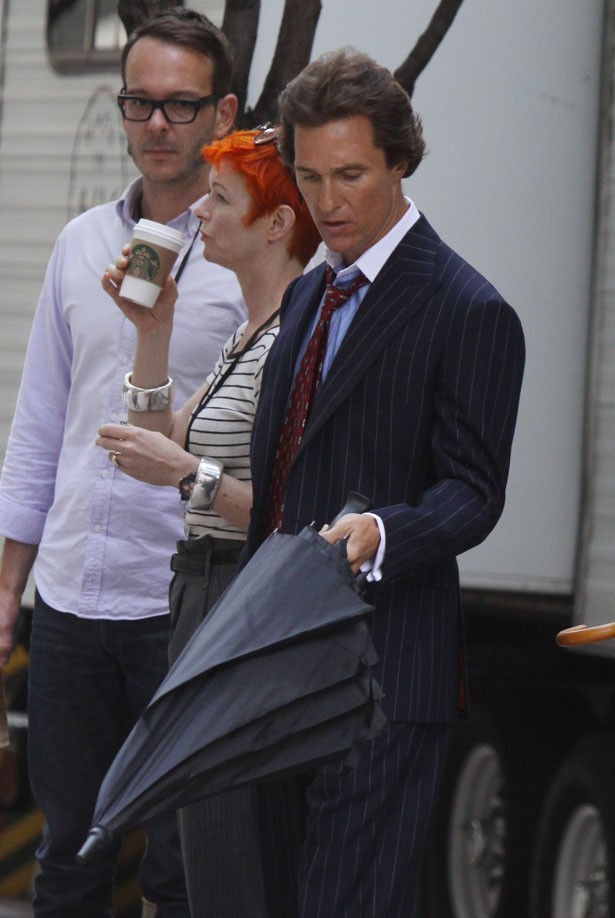 Matthew McConaughey sur le tournage de The Wolf of Wall Street le 27 août 2012 à New-York