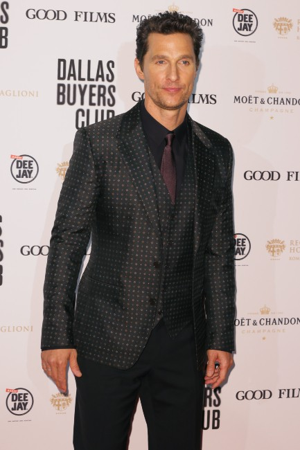 """Matthew McConaughey lors de la première de """"Dallas Buyers Club"""" à Rome, le 27 janvier 2014."""