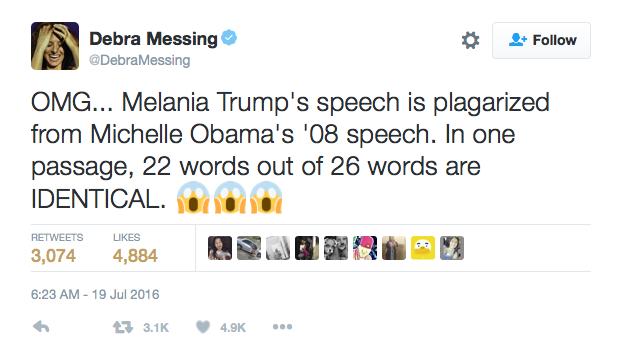 Debra Messing, star de la série Will & Grace réagit suite au discours de Melania Trump