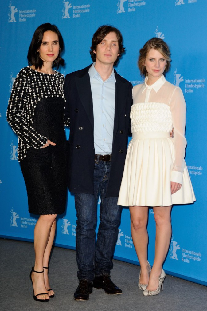 "Mélanie Laurent, Cillian Murphy et Jennifer Connelly lors du photocall du film ""Aloft"" à Berlin, le 12 février 2014."