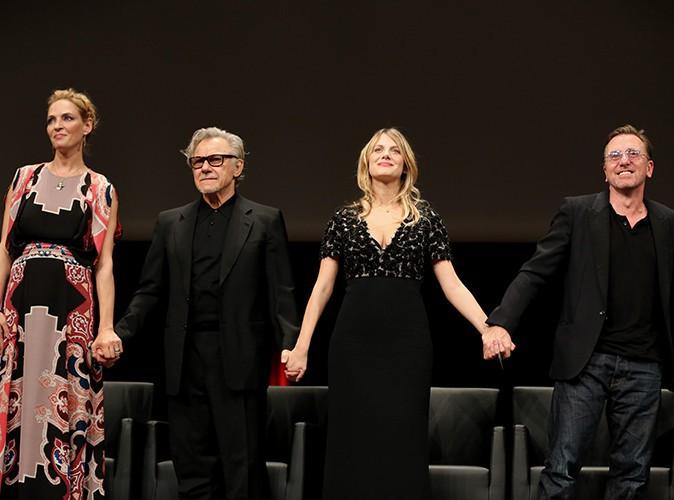 Uma Thurman, Harvey Keitel, Mélanie Laurent et Tim Roth à Lyon le 18 octobre 2013