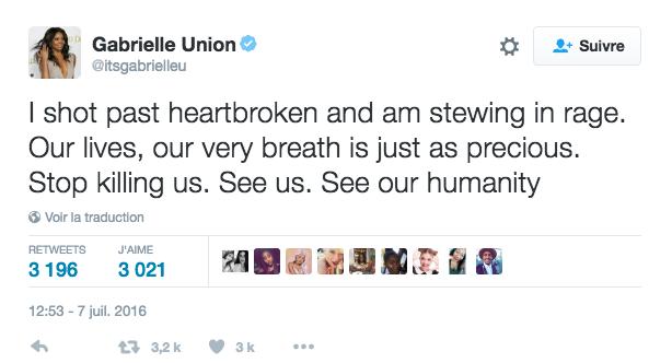 Gabrielle Union s'exprime sur les meurtres de Philando Castile et Alton Sterling