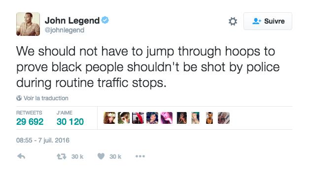 John Legend s'exprime sur les meurtres de Philando Castile et Alton Sterling