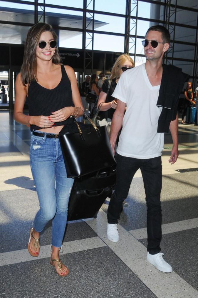 Miranda Kerr et Evan Spiegel, le 12 août 2015