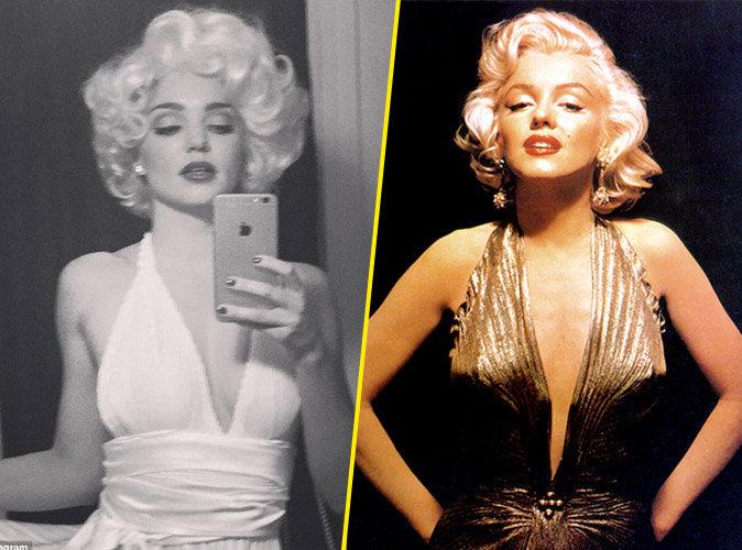 Miranda Kerr le 24 octobre 2015 et Marilyn Monroe