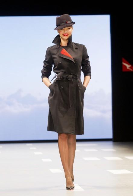 Miranda Kerr lors de la présentation des nouveaux uniformes de la compagnie aérienne Qantas Airways à Sydney, le 15 avril 2013.