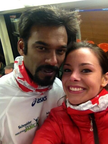 Marine Lorphelin au marathon de Paris le 7 avril 2013