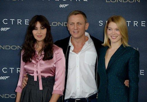 Daniel Craig, Monica Bellucci, Léa Seydoux à Londres pour Spectre, le 22 octobre 2015