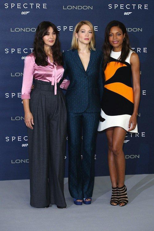 Monica Bellucci, Léa Seydoux, Naomie Harris à Londres pour Spectre, le 22 octobre 2015