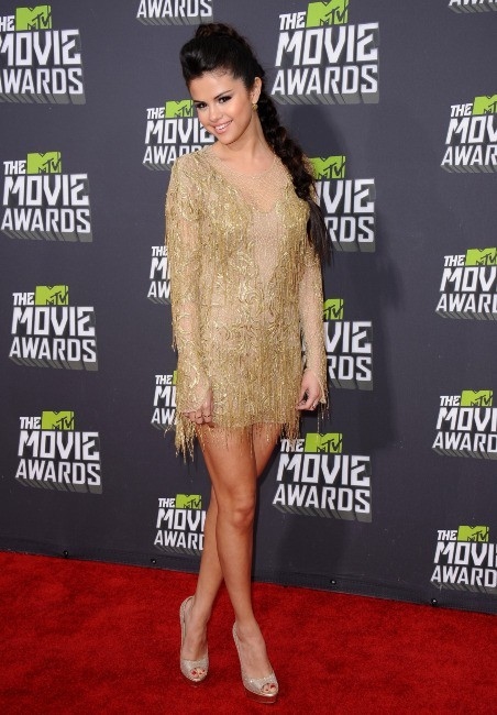 Selena Gomez sur la scène des MTV Movie Awards 2013 à Los Angeles, le 14 avril 2013.