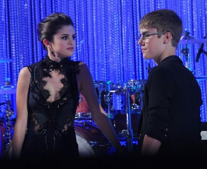 Selena Gomez et Justin Bieber lors des MTV VMA's 2011 à Los Angeles, le 28 août 2011.