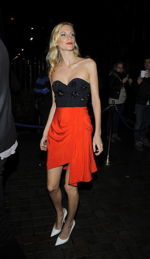 Poppy Delevingne à l'anniversaire de Mario Testino à Londres, le 29 octobre 2014