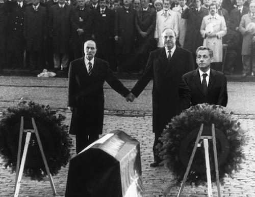 Avec François Mitterrand et Helmut Kohl
