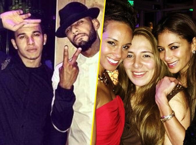 Nicole Scherzinger, Lewis Hamilton, Alicia Keys et Swizz Beatz lors du réveillon du nouvel an, le 31 décembre 2013.