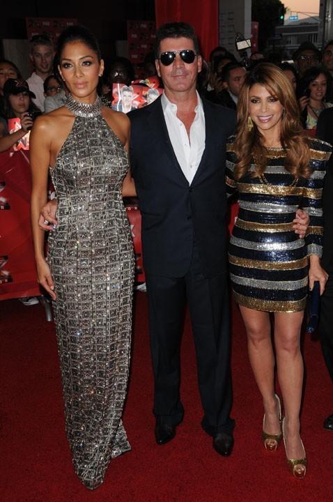 Nicole Scherzinger, Simon Cowell et Paula Abdul lors de la première mondiale de l'émission X-Factor US à Hollywood, le 14 septembre 2011.
