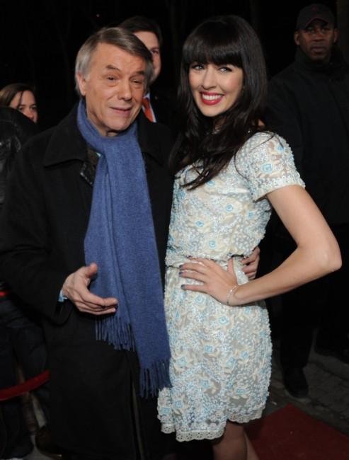 Nolwenn Leroy et Salvatore Adamo au Studio Gabriel à Paris, le 7 février 2013.