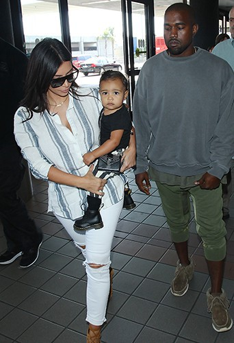 Kim Kardashian, North et Kanye West à Los Angeles le 1er septembre 2014