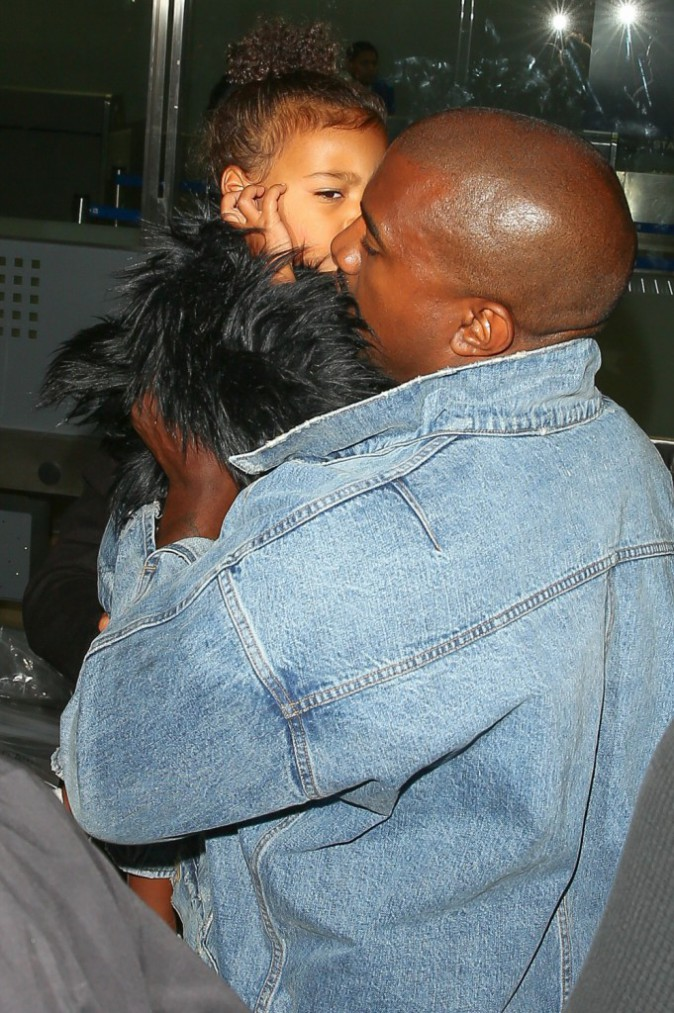 Kim Kardashian, North et Kanye West le 5 septembre 2015