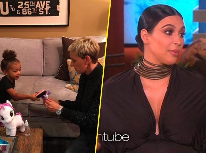 North West et Kim Kardashian avec Ellen DeGeneres le 29 septembre 2015