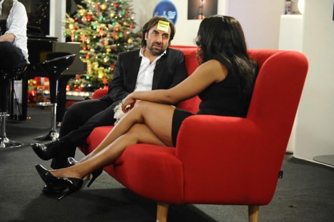 André Manoukian et Miss Dominique pendant l'enregistrement de la Nouvelle Star spécial Noël à Issy les Moulineaux le 16 décembre 2013