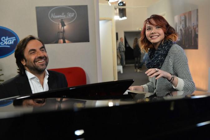 André Manoukian et Sophie-Tith pendant l'enregistrement de la Nouvelle Star spécial Noël à Issy les Moulineaux le 16 décembre 2013