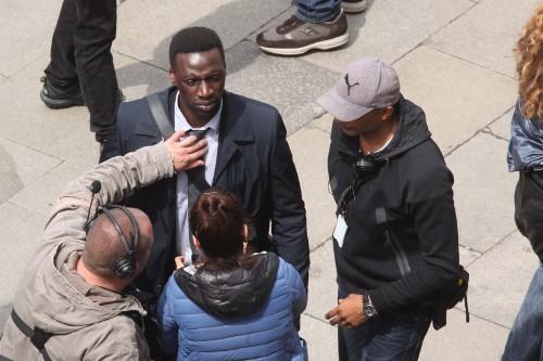 Omar Sy sur le tournage d'Inferno à Venise le 28 avril 2015