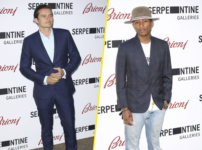 Orlando Bloom et Pharrell Williams à Londres le 1er juillet 2014
